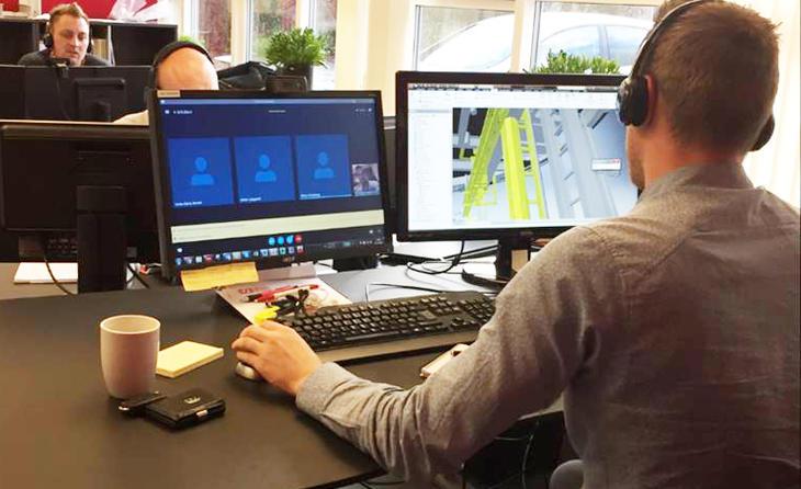 Øglænd System Danmark holder Skype-møte med Dong.