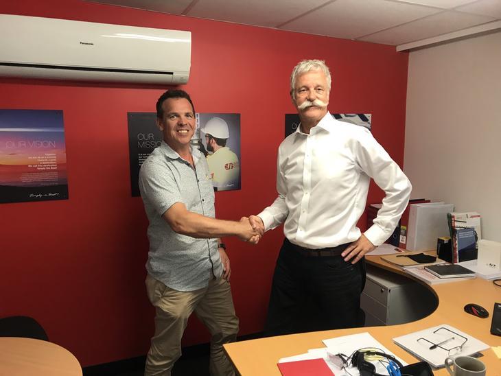 Ny Salgsdirektør i Australia, Doug Sangster (venstre), og Prosjektdirektør Tor Jan Øglænd (høyre).